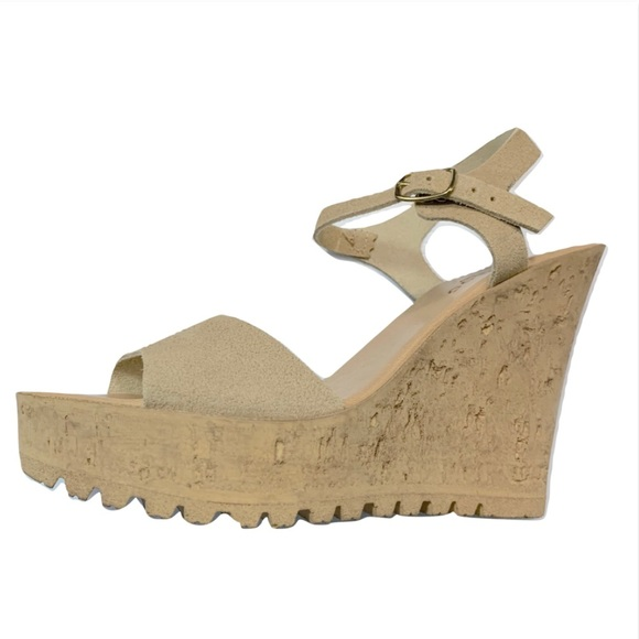 9fcc860ad Bamboo Cork Wedge Sandals